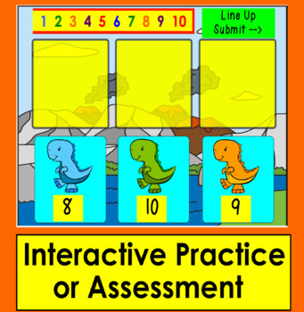 Boom Cards Math Number Sequence to 10 - Dinosaur Line Up Interactive Paperless