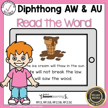 Boom Cards Diphthongs AW and AU Read the Word