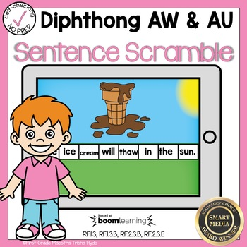 Boom Cards Diphthongs AW and AU Sentence Scrambles