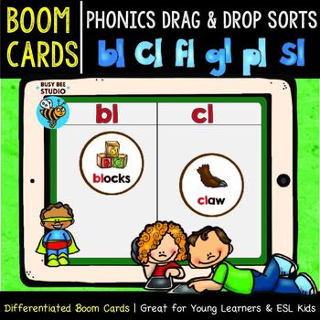 Boom Cards | Drag and Drop Sorts | Beginning Blends -L-