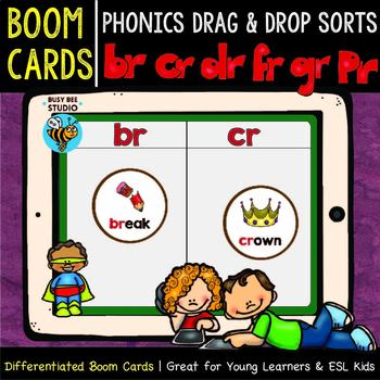 Boom Cards | Drag and Drop Sorts | Beginning Blends -R-