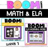 Boom Cards™ ELA and Math Daily Warmups Week 3 | 2nd Grade Math Spiral Review