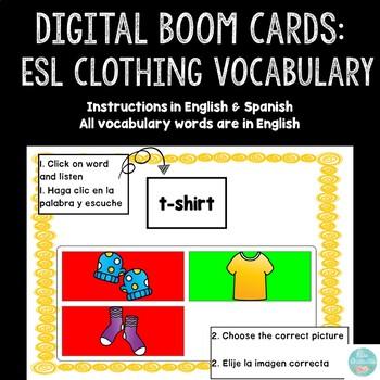 Boom Cards Esl Clothing Vocabulary English Spanish Instructions