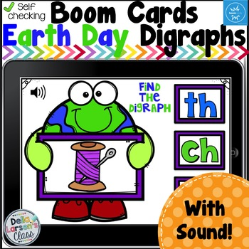 Boom Cards Earth Day Beginning Digraphs