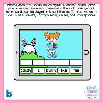 Boom Cards Easter Sentence Scrambles