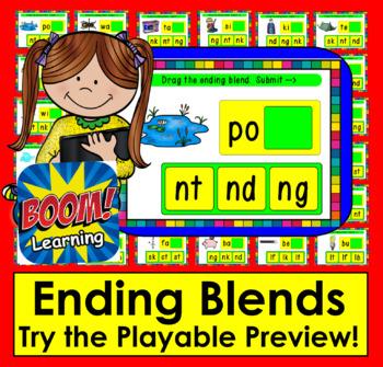 Boom Cards™ - Ending Blends - Drag the Ending Blend - Digital Task Cards