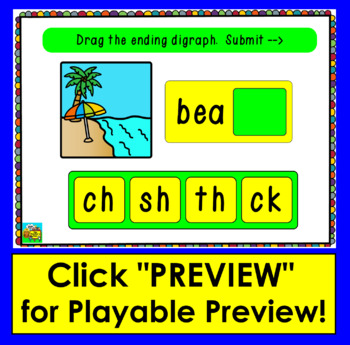 Boom Cards™ - Ending Digraphs - Drag the Ending Digraph - Multiple Choice