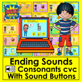 Boom Cards™ - Ending Sounds - CVC Words With Pictures and Sound - No Prep!