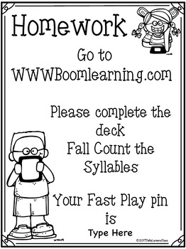 Boom Cards Fall Count the syllables