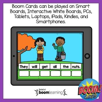 Boom Cards Fall Sentence Scrambles