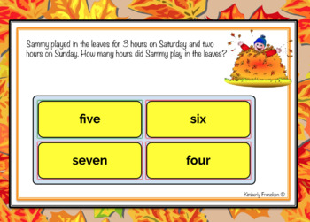 Boom Cards: Fall- Themed Addition and Subtraction Word Problems
