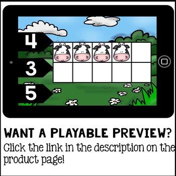 Boom Cards - Farm Animal Ten Frame Counting 1-10 ( Kindergarten Math )