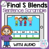 Boom Cards Final S Blends Sentence Scrambles