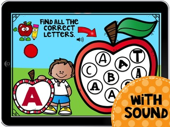 Boom Cards Find the Alphabet - Apples