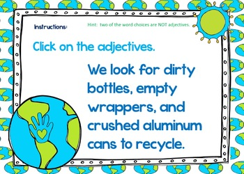 Boom Cards™, Find the Nouns, Grammar in Context, Earth Day Themed