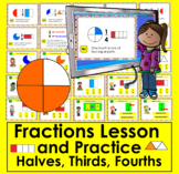 Boom Cards Math Fractions Lesson & Practice 30 Cards W/ Sound Distance Learning