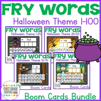 Boom Cards Fry Words 1-100 Halloween Theme Sight Words