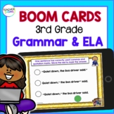 Boom Cards ELA   3rd Grade GRAMMAR   Digital Task Cards Bundle