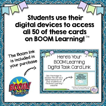 Boom Cards™ Identify the 50 States Task Cards & Digital Task Cards Self Checking