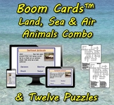 Boom Cards™ Land, Sea & Air Animals Combo with Twelve Puzzles