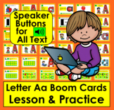 Boom Cards FREE Letter Aa Lessons and Practice:  Audio for ALL Text!