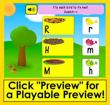 Boom Cards Spring Letter Recognition Alphabet Match Upper to Lowercase Animated