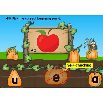 Boom Cards Letter Sounds (Beginning Sounds) Match in the Pumpkin Patch