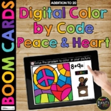 Boom Cards™ Martin Luther King Day Digital Color by Code PEACE SIGN & HEART