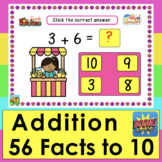 Boom Cards Math Addition 56 Summer Facts to 10: MULTIPLE C