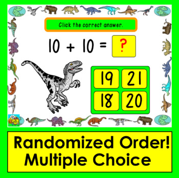 Boom Cards Math Addition Facts 11-20: MULTIPLE CHOICE:  50 Cards!