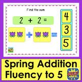 Boom Cards Math Addition Kindergarten Fact Fluency to 5 - Spring Theme