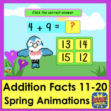 Boom Cards Math Addition SPRING Animations Facts 11-20 MUL