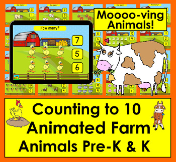 Boom Cards Math: Animated Farm Animals: Counting to 10:Click the Correct Answer
