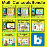 Boom Cards Math Bundle Money Time Measurement Shapes Fract