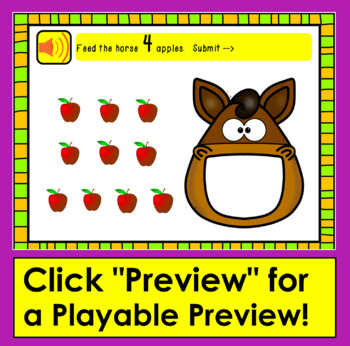 Boom Cards Math: Counting to 10: Drag & Count Food Items to Feed Each Animal