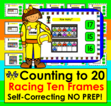 Boom Cards Math Counting to 20 - With Race Car Ten Frames Self-Correcting