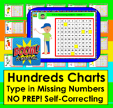 Boom Cards Math:  Hundreds Charts Missing Numbers to 100 -No Prep!  Sports Theme
