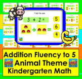 Boom Cards Math Addition: Kindergarten Fact Fluency to 5 - Animal Theme