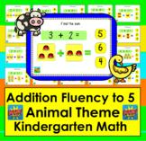 Boom Cards Math Addition: Kindergarten Fact Fluency to 5 - Animal Theme