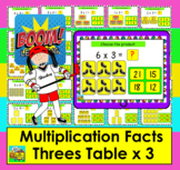 Boom Cards Math Multiplication Facts: Threes Table MULTIPLE CHOICE:  25 Cards