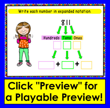 Boom Cards Math Place Value to 999- Expanded Notation: Expanded Form - 3 Digits