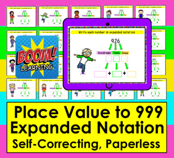 expanded form 999  Boom Cards Math Place Value to 12- Expanded Notation: Expanded Form - 12  Digits