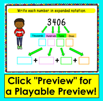 Boom Cards Math Place Value To 9999 Expanded Notation Expanded
