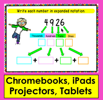 Boom Cards Math Place Value to 9999- Expanded Notation: Expanded Form - 4 Digits