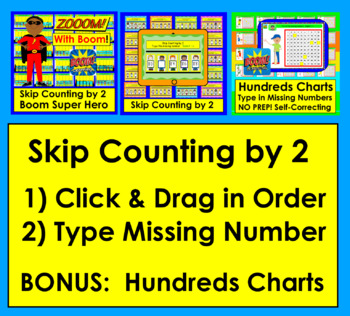 Boom Cards Math:  Skip Counting BUNDLE:  Count by 2, 5, and 10 Distance Learning