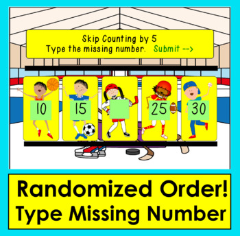 Boom Cards Math Skip Counting by 5 - Sports Theme: Type the Missing Number