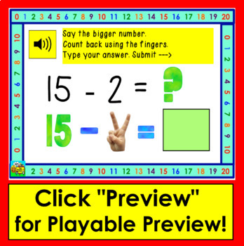 Boom Cards  Math Subtraction Facts 11-20 Counting Back with Images of Fingers