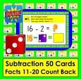 Boom Cards  Math Subtraction Facts 11-20 Strategy: Counting Back with Dice Dots
