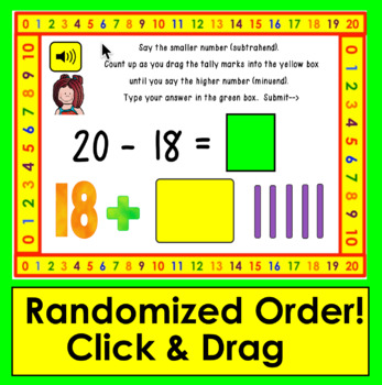 Boom Cards Math Subtraction Facts 11-20: Strategy: Counting Up Using Tally Marks
