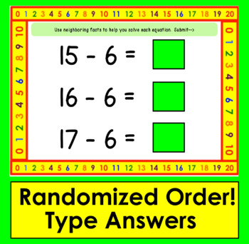 Boom Cards Math Subtraction Facts 11-20: Strategy: Neighboring Facts
